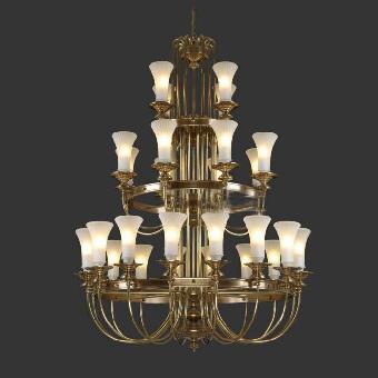 3层4层客厅主吊灯 欧式豪别墅复式楼大厅全铜灯具