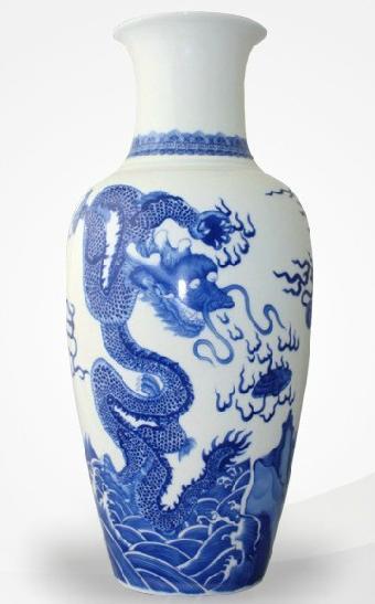 景德镇官窑烧制·中华腾龙——青花瓷瓶图片