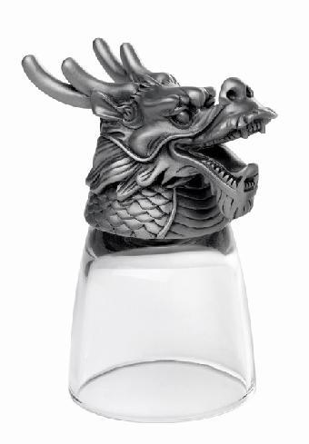 鼠牛虎-十二生肖动物头白酒杯 对 水晶酒杯 生日礼