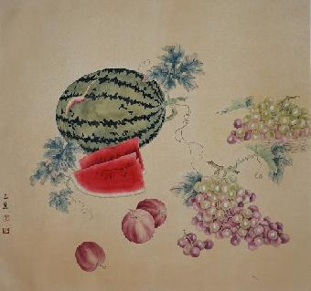 她作画题材广泛,无论古装人物,猫科动物,瓜果蔬菜,还是现代花卉草虫