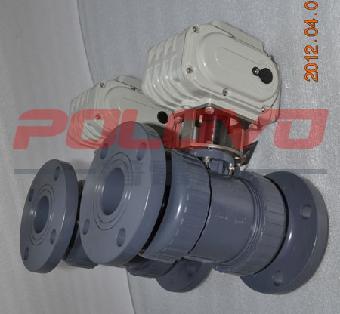 pvc法兰塑料电动球阀图片