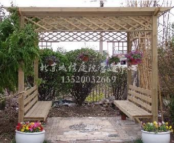 延庆私家花园设计,营造防腐木亭子,花架,木地板施工