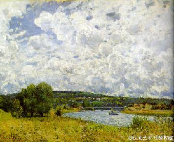 白色,灰紫色的大块云团喷涌弥漫,坚实的颜料厚堆,骚动不安的笔触,压抑