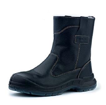 黑色粒面高帮皮鞋