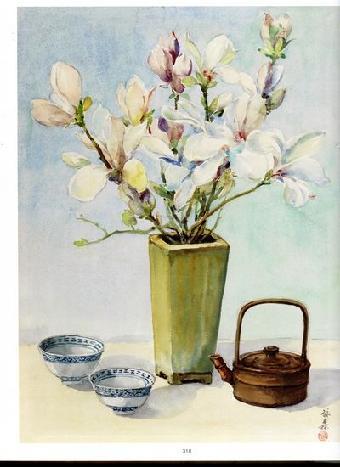 水彩画:玉兰花
