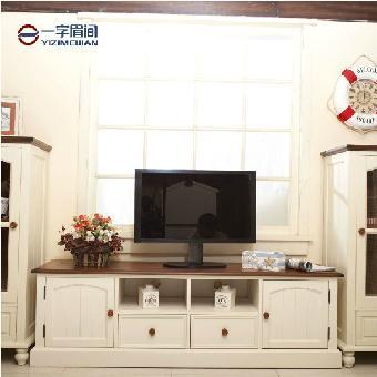米勒美式乡村电视柜地中海实木组合柜储物柜北京厂家直销一字眉间