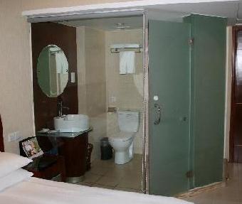 扬州星级酒店磨砂钢化玻璃淋浴房隔断订做安装[庆亚]