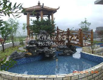 门头沟庭院水池,鱼池设计,专业大型假山喷泉施工