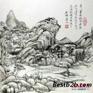 翡翠山水手绘图